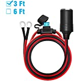 Chanzon Female Cigarette Lighter Outlet 3Ft + Eyelet Terminal Plug Power Supply Cord 12V 16AWG Heavy Duty Cable Accessory 15A Fused DC Power 12 24 Volt Socket for Car Tire Inflator Air Pump