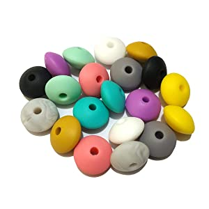 50pcs Silicone Abacus Pearl Beads Accessory 12mm Silicone Pearl Abacus Beads Flat Shape Mom Care DIY Beaded Necklace Making