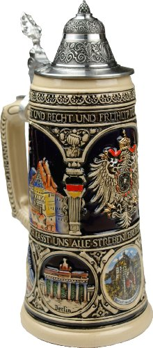 Beer History Stein (Beer Mug by King - Old Heritage CoA and Landmarks Relief Colored Beer Stein (Beer Mug) 0.75l Limited)