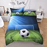 Prom Bedding Polyester Sanding 3pc Digital Printing Duvet Cover Set 3D Football Soccer Bed Cover for Teen Boys Green Full Size