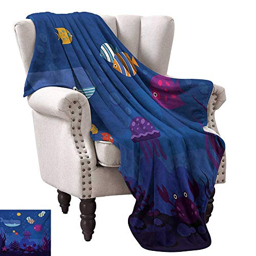 Lightweight Blanket,Underwater World Fish in Aquarium and Whale Crabs Jellyfish Bubbles Coral 50