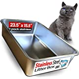 iPrimio Ultimate Stainless Steel Cat XL Litter Box - Never Absorbs Odor, Stains Rusts - No Residue Build Up - Easy Cleaning Litterbox Designed Cat Owners (1 Pan)