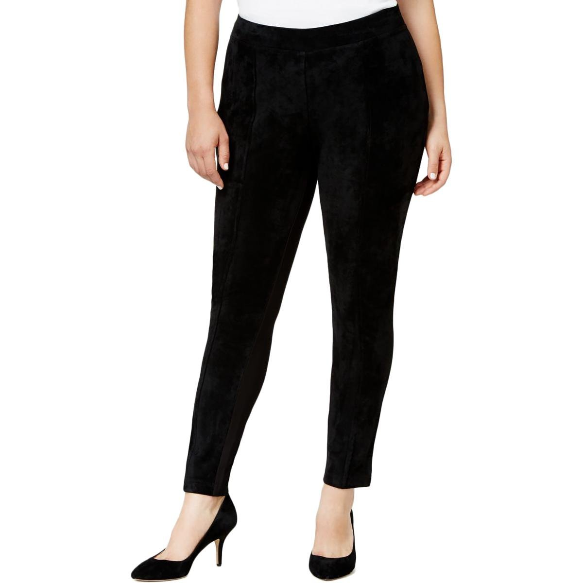 Calvin Klein Women's Plus-Size Essential Power Stretch Faux-Suede Front Legging, Black, 2X