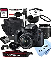 Canon EOS Rebel T100 DSLR Camera with 18-55mm f/3.5-5.6 Zoom Lens + 32GB Card, Tripod, Case, and More (18pc Bundle) photo