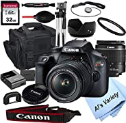 Canon EOS Rebel T100 DSLR Camera with 18-55mm f/3.5-5.6 Zoom Lens + 32GB Card, Tripod, Case, and More (18pc Bu
