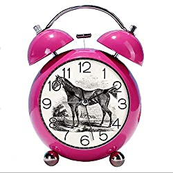 GIRLSIGHT Cute Color Alarm Clock, Round Horse Desk Clock with Night Light Vintage Thoroughbred Horse Equestrian Personalized Bedroom Decorations(Red)