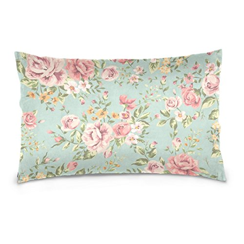ALAZA Shabby Chic Vintage Blue Pink Floral Cushion Pillowcase,Rectangle Throw Pillow Case Decorative Cushion Cover Pillowcase Cushion Case for Sofa,Bed,Chair,Auto Seat,(20x36inch) Twin Sides
