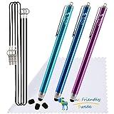 "Bundle of 3PCS Premium Branded 5.5"" Thin-Tip High Precision Universal Capacitive Stylus Pens + Extra 3 Replaceable Tips and 2 X 15"" Detachable Elastic Lanyards (Aqua Blue/Dark Blue/Purple)"