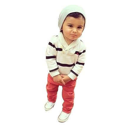 c294a658c0 Vestiti Per Neonati Autunno Abiti Cerimonia Bambino 1 2 Anni Bambino  Maschio Inverno Toddler Bambini Baby Boy Striped T Shirt Felpe Top  Pantaloni Vestiti ...