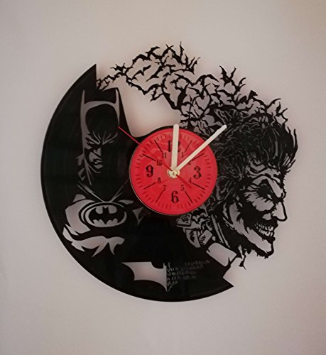 Dark Knight vs Joker 12 inches Vinyl Record Design Wall Clock - Batman Movie Characters - Get unique home room wall decor - Gift ideas for parents, teens - Epic Movie Unique Modern Art ...