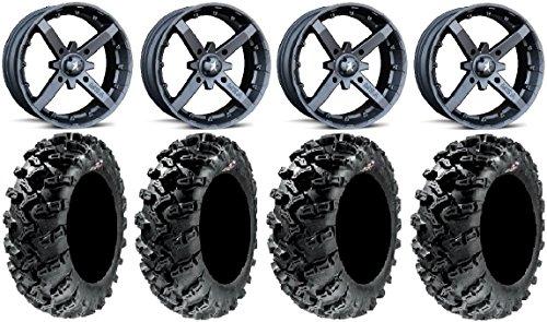 Bundle - 9 Items: MSA Black Battle 12'' UTV Wheels 26'' Grim Reaper Tires [4x137 Bolt Pattern 12mmx1.25 Lug Kit] by Powersports Bundle
