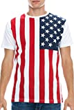 Mens Hipster Hip Hop Vertical USA Flag Crewneck T-Shirt WHITE XLARGE