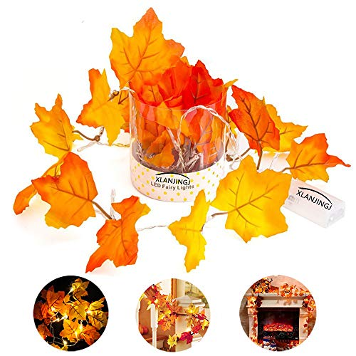 XLANJINGJ Fall Decorations,Fall Garland Decorations Light,Fall Colored Artificial Maple Leaves for Weddings,Party, Events and Decorating