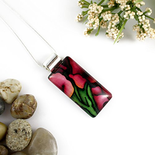 Red Gladiolus Flower Rectangle Glass Pendant