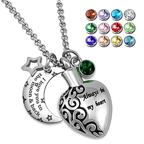 YOUFENG Urn Necklaces for Ashes Aways in My Heart I Love You to The Moon and Back Ashes Holder Pendant Necklace (May Birthstone URN Necklace)