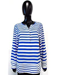 Striped Vneck Long Sleeve Blouse Blue White Size L