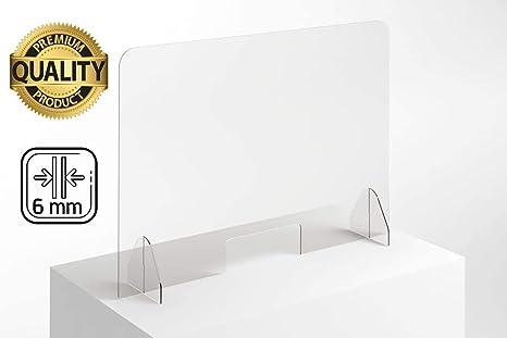 Mampara Protección Mostrador 100 x 75 cm - Transparente con bases ...
