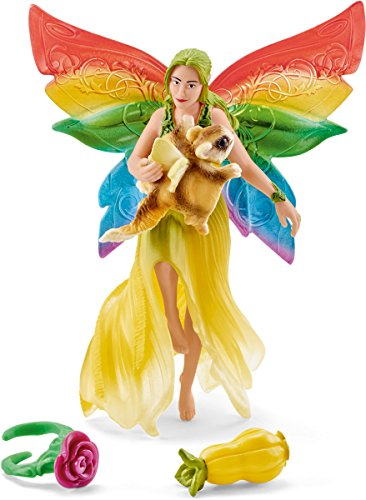 Schleich North America Rainbow Elf Meena with Flying Squirrel Toy Figure (Squirrel Schleich)