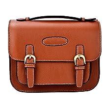 Shaveh PU Leather Single shoulder Camera Bag Case with adjustable Shoulder Strap for Fujifilm Instax Mini 7s,, Mini 8 Mini 9, Mini 25,Mini 70, Mini 90 Instant Cameras and Polaroid Instant Camera (Brown)