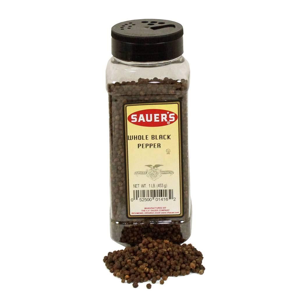 C.F. Sauer Foods Whole Black Pepper, 1 Pound -- 6 per case.