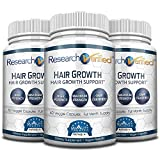 Research Verified Hair Growth Support - with Biotin, DHT Blockers & Vitamins - Hair Growth and Hair Loss Prevention, 3 Bottles (3 Months Supply)