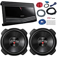 Car Sub And Amp Combo: 2x Kenwood KFC-W3016PS 2000 Watt 12 4 ohm Subwoofer Bundle Combo With KAC-9106D Class D Monoblock 2000-Watt Car Audio Amplifier + 8-Gauge Amp Installation Kit