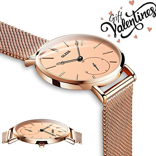 (OLEVS Womens Ultra Thin Slim Rose Gold Big Face Analog Dress Wrist Watches for Ladies Teen Girls Gift Waterproof Simple Casual Classic Minimalist Large Dial Quartz Watch with Milanese Steel Mesh Band)