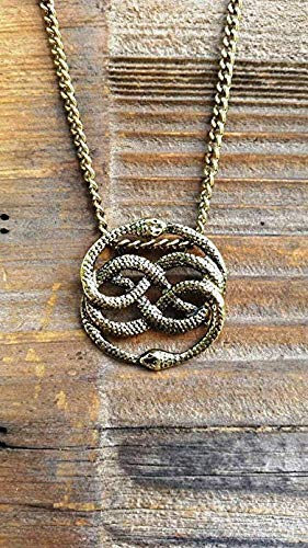 Neverending Story Antique Bronze Necklace,Never Ending Story Snake Pendant, Snake Circle Necklace