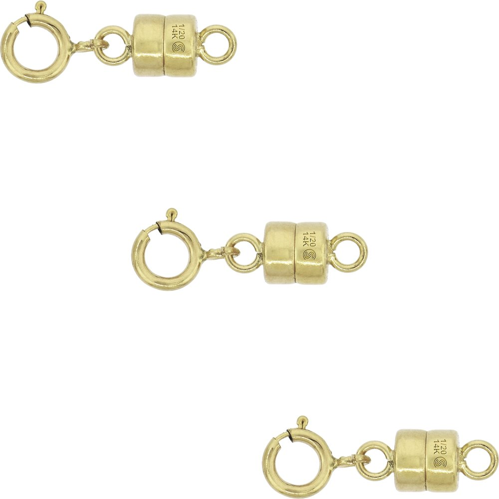 3 PACK 14k Gold-filled 4 mm Magnetic Clasp Converter for Light Necklaces USA Square Edge 5.5mm SpringRing by Sabrina Silver
