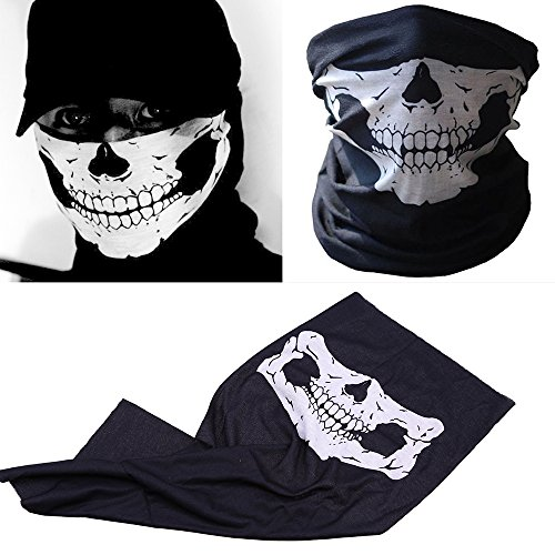 LANDGOO Skull Face Mask Seamless Skeleton Ghost Props Tube Bandana Halloween Cosplay Fashion (Halloween Au)