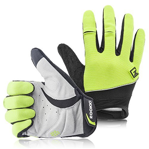 Fingered Cycling Glove - Zookki Work Gloves,Full finger-Green,L(7.9inches-9.0inches)