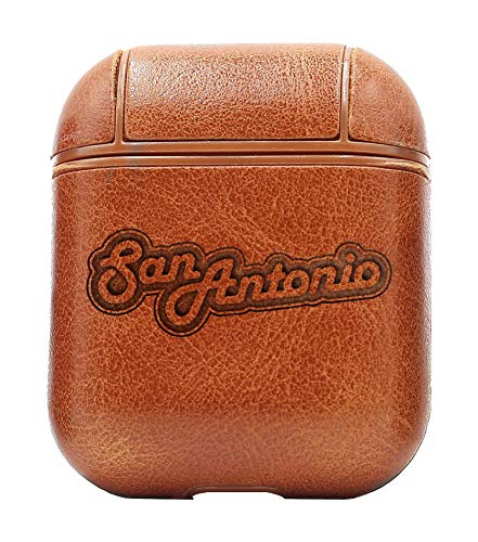 NBA SAS San Antonio Letter (Vintage Brown) Air Pods Protective Leather Case Cover - a New Class of Luxury to Your AirPods - Premium PU Leather and Handmade exquisitely by Master Craftsmen ()