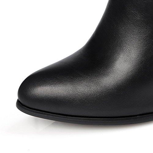 Allhqfashion Top Zipper Heels metal High Blend Materials Women's Low Boots Piece Closed Solid Black Toe gqwTxrfgFn