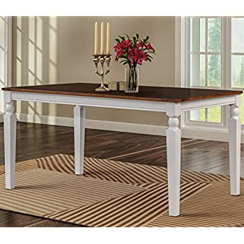 merax wood dining table rectangular dining room table white and espresso