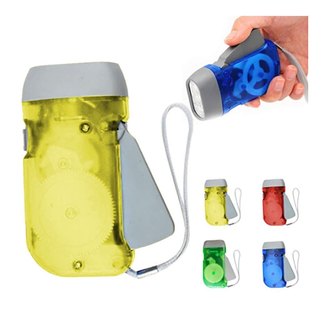 omufipw Mini 3 LED dinamo linterna de viento luz de la linterna de la mano de la manivela para deportes al aire libre camping, Verde, Square 1.50W