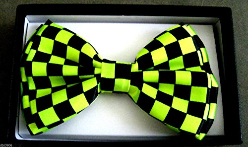 - Men's Unisex Wedding Party Tuxedo Black Black and Neon Green Yellow Checker Checkered Diamond Dress Bow tie Bowtie! Brand New in Factory Box!