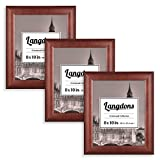 dark cherry wood Langdons Picture Frames 8x10 (3 Pack, Solid Wood - Cherry Stained) Frames 8x10, Wall Mount Hooks or Table Top Easel, Picture Frame Set, Crestwood Collection