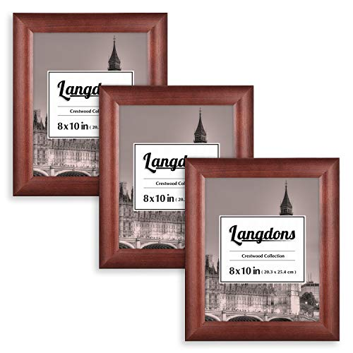 Langdons Picture Frames 8x10 (3 Pack, Solid Wood - Cherry Stained) Frames 8x10, Wall Mount Hooks or Table Top Easel, Picture Frame Set, Crestwood Collection
