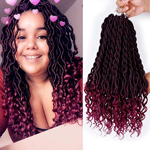 6 Packs 20Inch Faux Locs Crochet Hair Synthetic Goddess Braid Twist Crochet Hair Curly Ends Twist Braid Hair Extensions(T1B-BUG) ()
