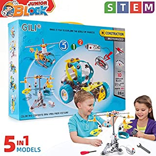 Gili Building Toys Gifts for Boys & Girls Age 6-12yr, Educational STEM Learning Sets, Construction Engineering 5 in 1 Motorized Robotics Truck Kit for 7, 8, 9, 10, 11 Year Old Kids Birthday Christmas