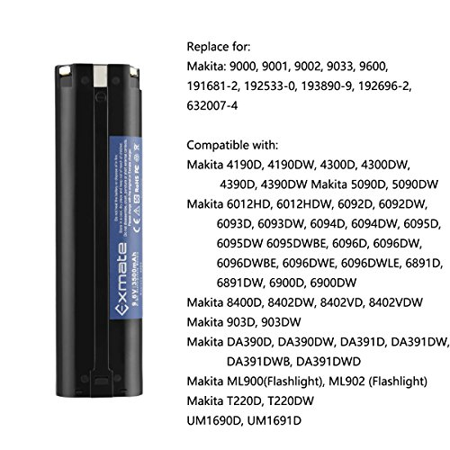Exmate 2PCS 9.6V 3500mAh Ni-MH Replacement Battery Compatible with Makita 9033 193890-9 192696-2 632007-4 9001 9002 9600 191681-2 192533-0 4093D 4093DW 5090D 5090DW 6095D by Exmate (Image #5)