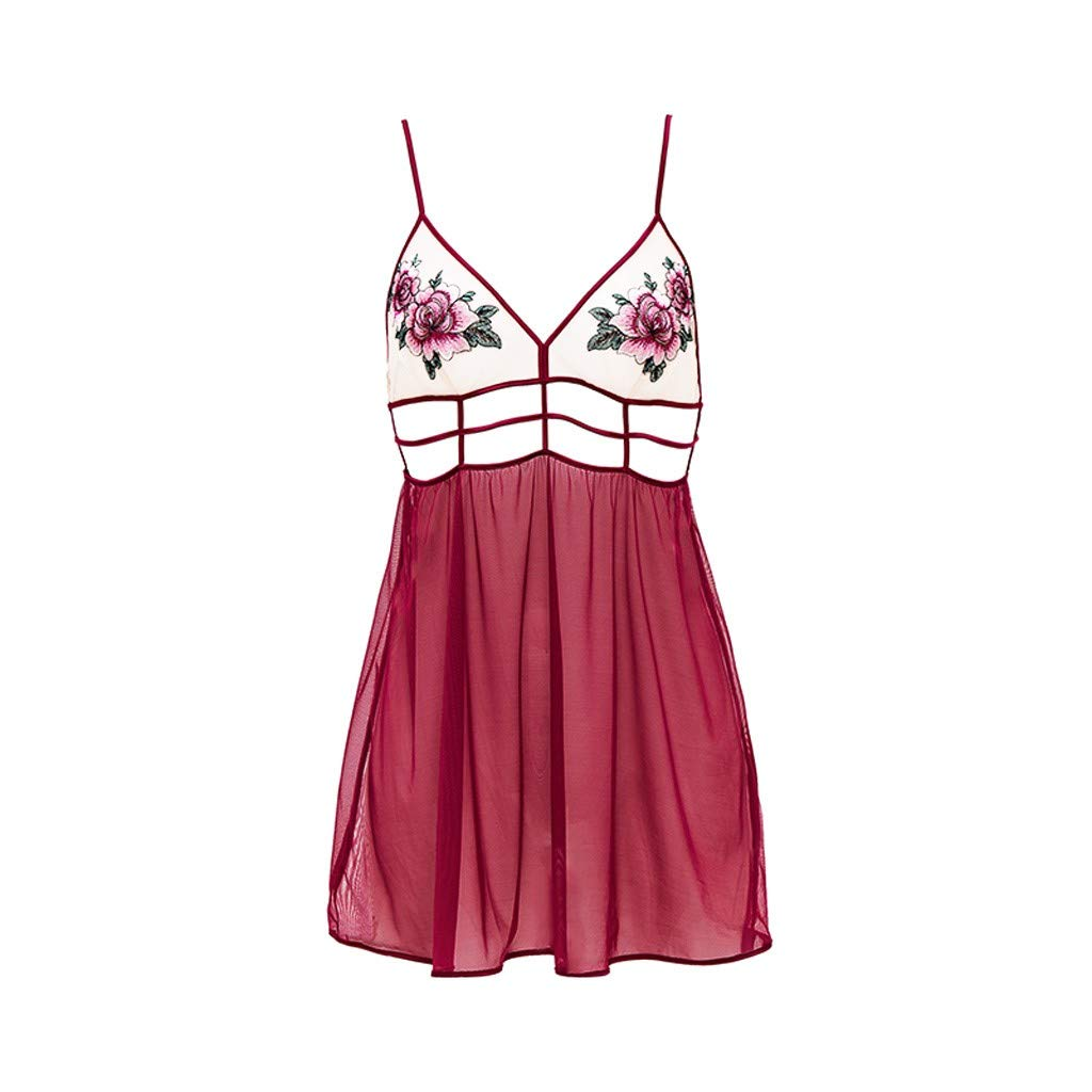 Women Lace See-Through Teddy Lingerie Plus Size | Ladies Embroidered Applique Lingerie Red Babydoll By Wesracia(Wine,S)