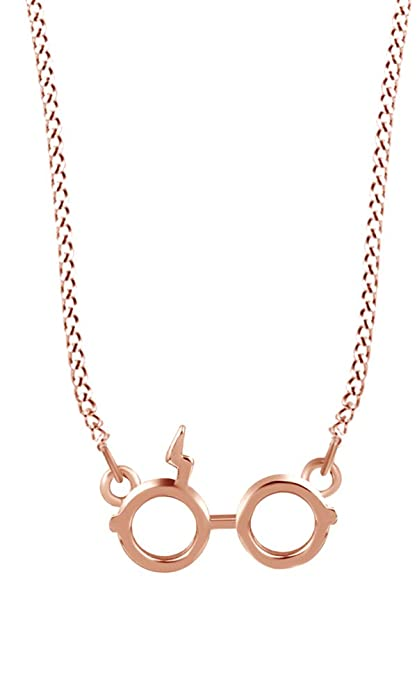 6e1698200 Amazon.com: Jewel Zone US Harry Potter Glasses Charm Pendant Necklace in  Rose Gold Over Sterling Silver: Toys & Games