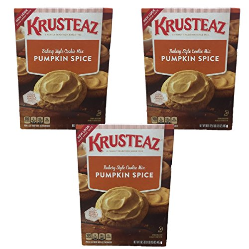 Krusteaz New Look Bakery Style Pumpkin Spice Cookie Mix - includes Spiced Vanilla Glaze - 3 Pack of 16.5oz boxes