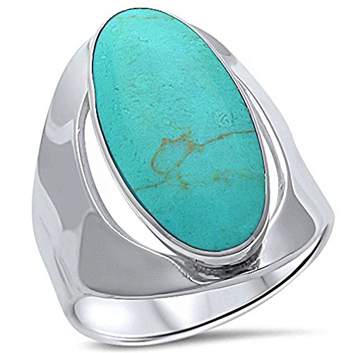 Blue Apple Co. Oval Men Women Unisex Ring Big Simulated Green Copper Turquoise 925 Sterling Silver