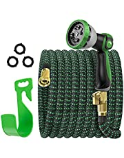 Expandable Garden Hose, Flexible Expanding Water Hose, Leakproof No Kink Lightweight Hoses with 10 Function Nozzle, Durable Collapsible Outdoor Watering Hose for Yard Lawn