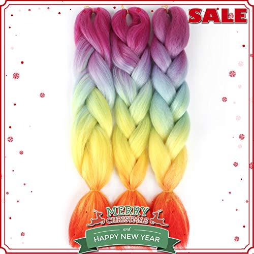 NAISIER Rainbow Braiding hair Ombre Braiding Hair Extension Multicolor Braiding Hair Synthetic Kanekalon Fiber for Twist Braiding Hair,Kanekalon Jumbo Box Braiding Hair,3 Bundles, 24