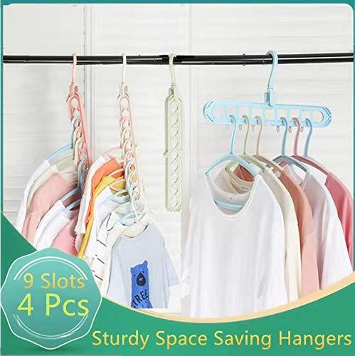Clothes Hangers Space Saving 4 Packs Hanger Organizer Magic Space Saver Hangers Sturdy Plastic Cascading Hangers Smart Closet Organization for Home, College Dorm Room