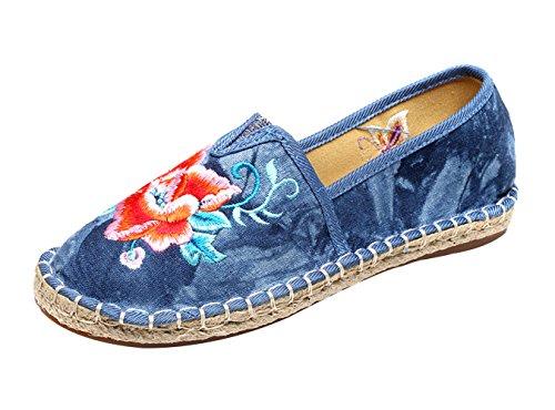 Chaussures Bleu Traditionnelles Brodé Studio Sk Bateau Femme Compensées Ballerines Fleuries Espadrilles qpvzOwU