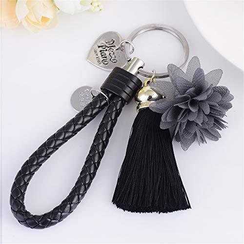 GH8 Kawaii Cute PU Leather + Flower Tassels Shape As Charms Car Key Chains Key Ring Tassels Keyring Keychains linnor Women Bag Charms DIY (Black)